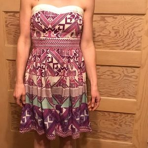 Printed strapless fit and flare dress
